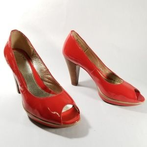 Sofft Red Patent Leather Peep Toe Pumps